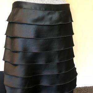 Express black pleated satin skirt